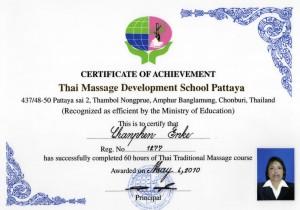 Zertifikat der Thai Massage Development School Pattaya für Chanphen Enke